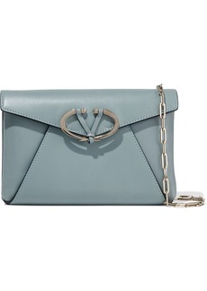 Valentino Garavani Woman V Rivet Leather Shoulder Bag Light Blue