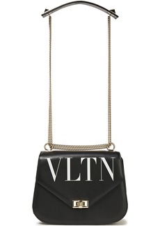 Valentino Garavani Woman Vltn Small Logo-print Leather Shoulder Bag Black