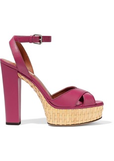 Valentino Garavani Woman Leather Platform Sandals Fuchsia