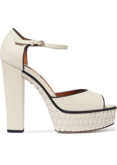 Valentino Garavani Woman Woven Leather Platform Sandals Ivory