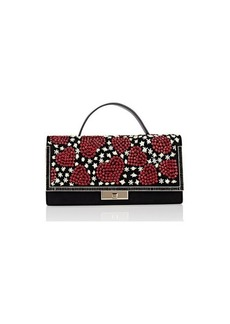 Valentino Garavani Women's Beaded Heart Leather Clutch