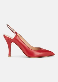 Valentino Garavani Women's Crystal-Embellished Leather Slingback Pumps