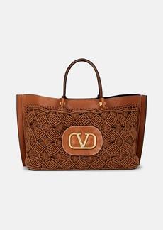 Valentino Garavani Women's Go Logo Escape Medium Macramé Tote Bag - Brown