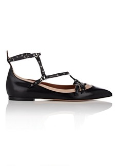 Valentino Garavani Women's Love Latch Leather Caged Ballet Flats