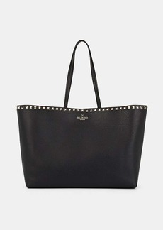 Valentino Garavani Women's Rockstud Leather & Canvas Tote Bag - Black