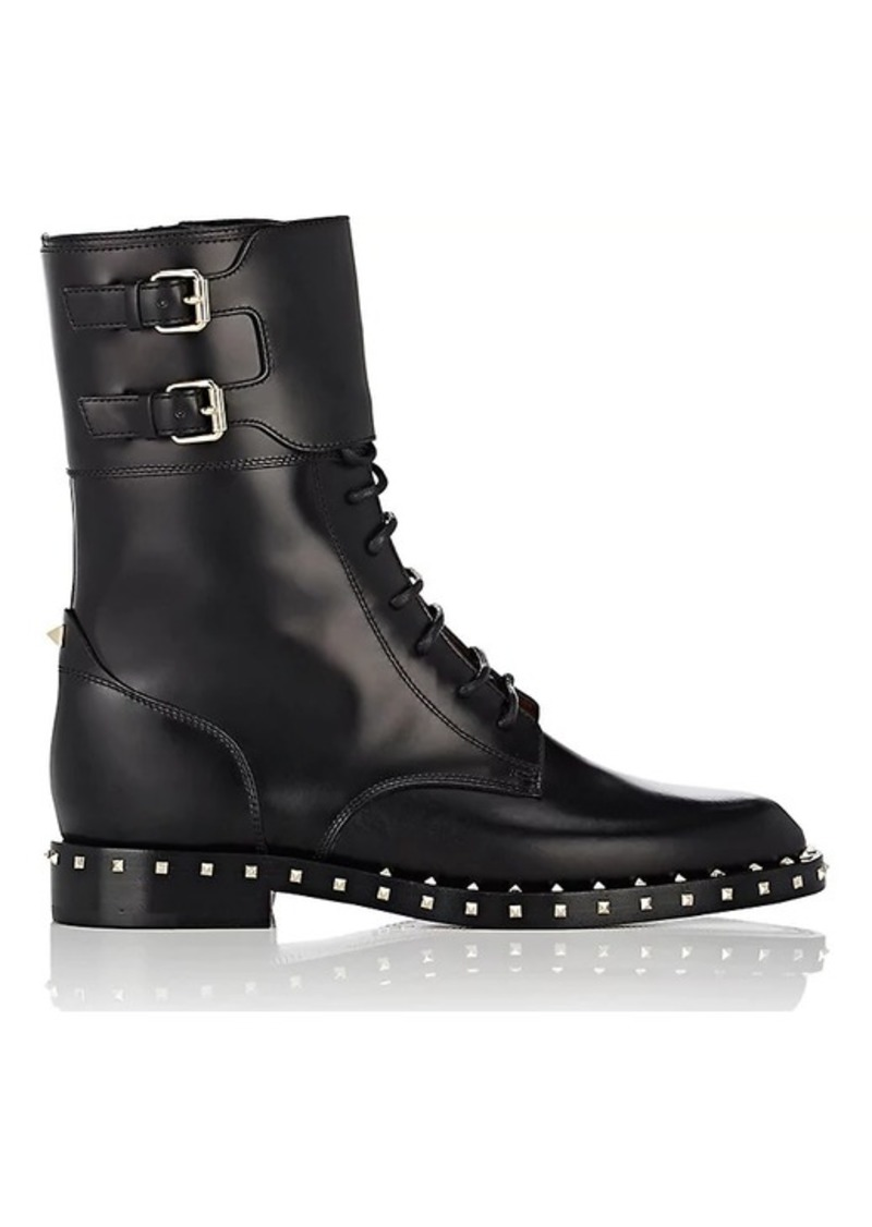 31fe6ace521a75 Valentino Valentino Garavani Women s Rockstud Leather Combat Boots ...