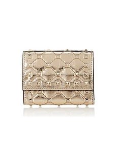 Valentino Garavani Women's Rockstud Spike Leather Folding Card Case - Gold