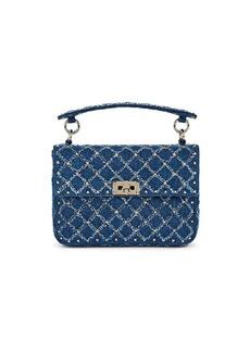 0bc511071b Valentino Garavani Women's Rockstud Spike Medium Denim Shoulder Bag - Blue