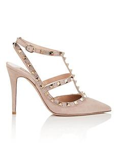 Valentino Garavani Women's Rockstud Suede Ankle-Strap Pumps