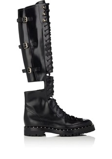 Valentino Garavani Women's Soul Rockstud Leather Over-The-Knee Combat Boots