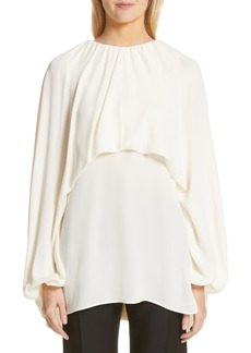 Valentino Gathered Capelet Silk Georgette Blouse