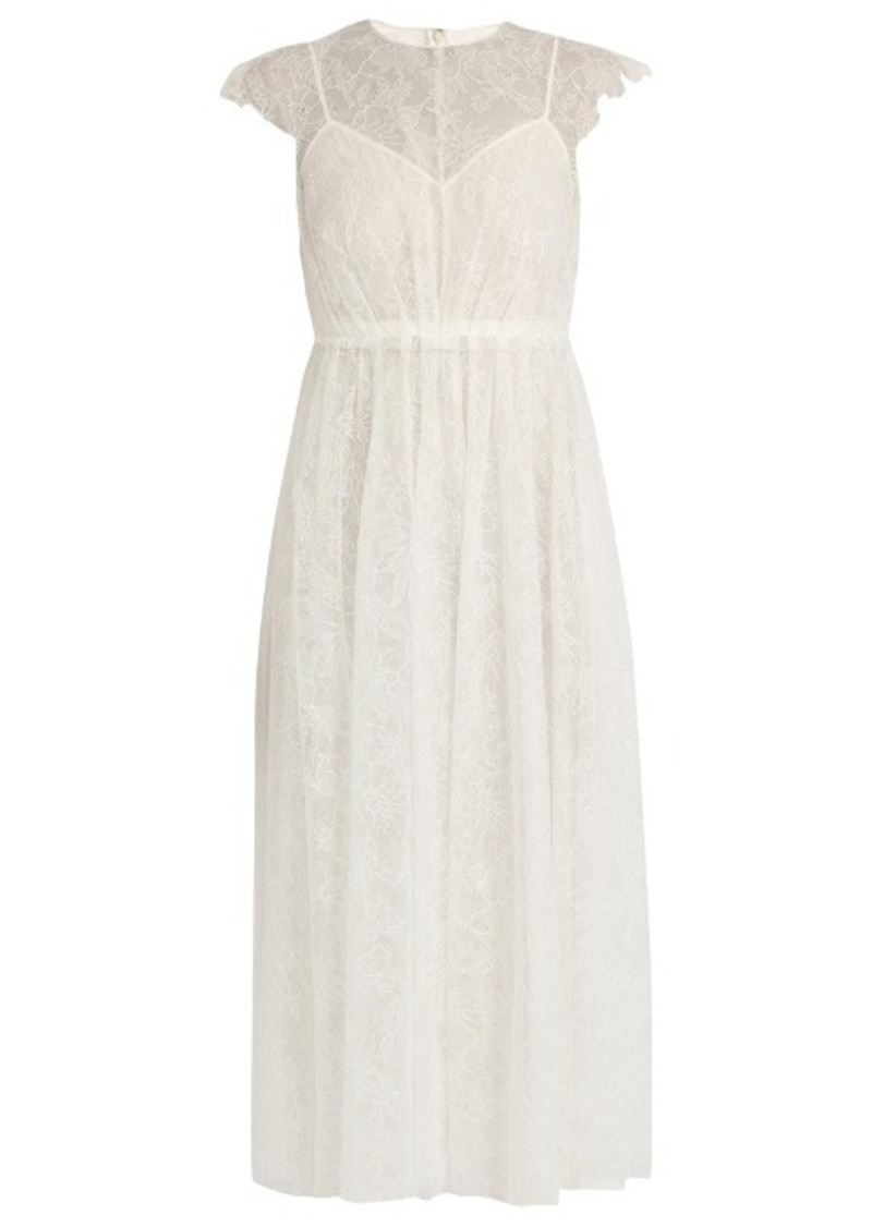 Valentino Valentino Gathered floral-lace dress Now $4,350.00