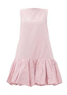 Valentino Gathered-hem cotton-blend faille mini dress
