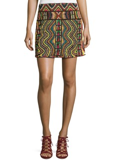 Valentino Geometric Beaded Mini Skirt
