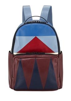 Valentino Geometric Paneled Leather Backpack