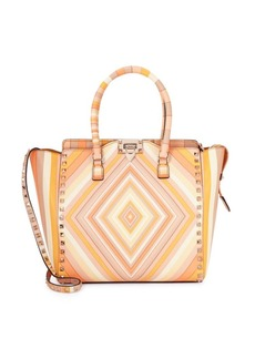 Valentino Garavani Geometric Print Leather Crossbody Bag