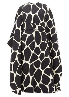 Valentino 1966 giraffe-print belted wool-crepe cape