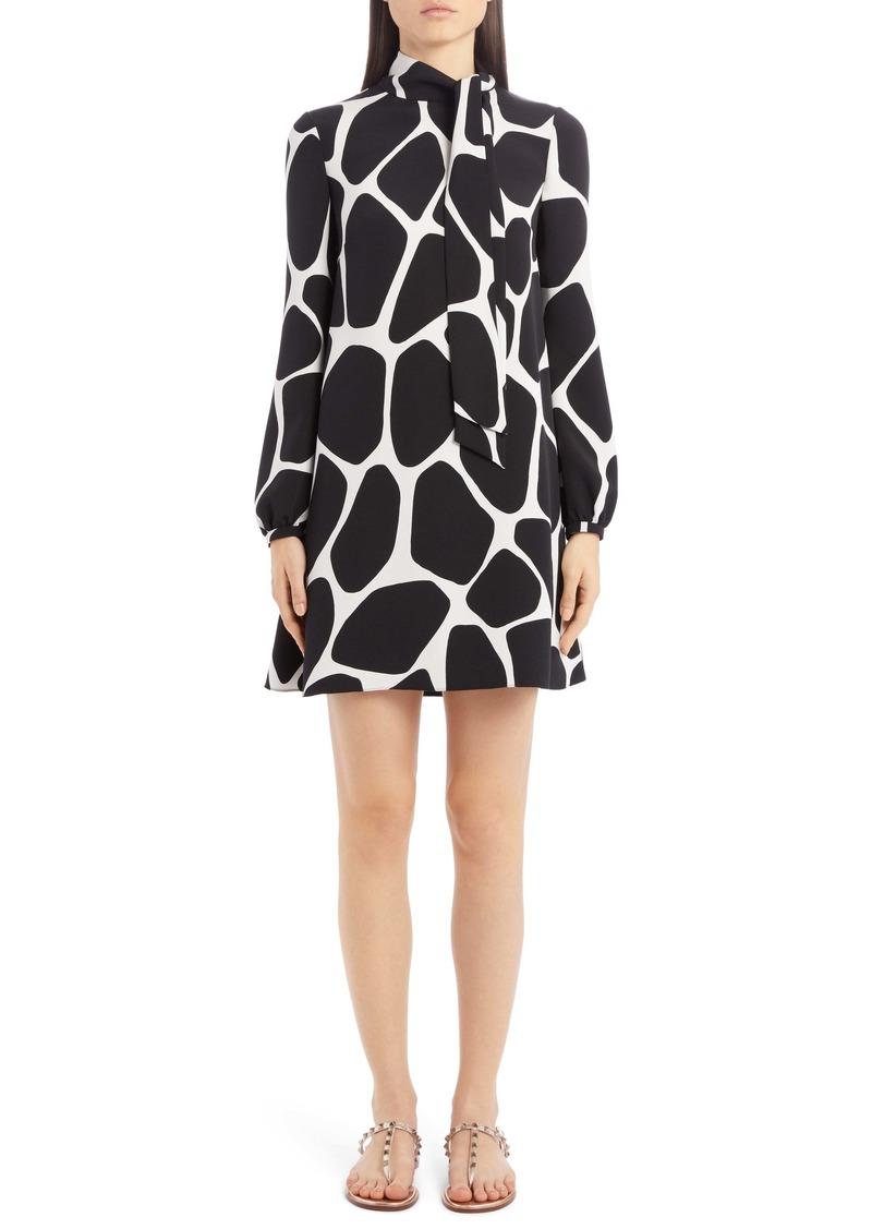 Valentino Giraffe Print Long Sleeve Silk Minidress