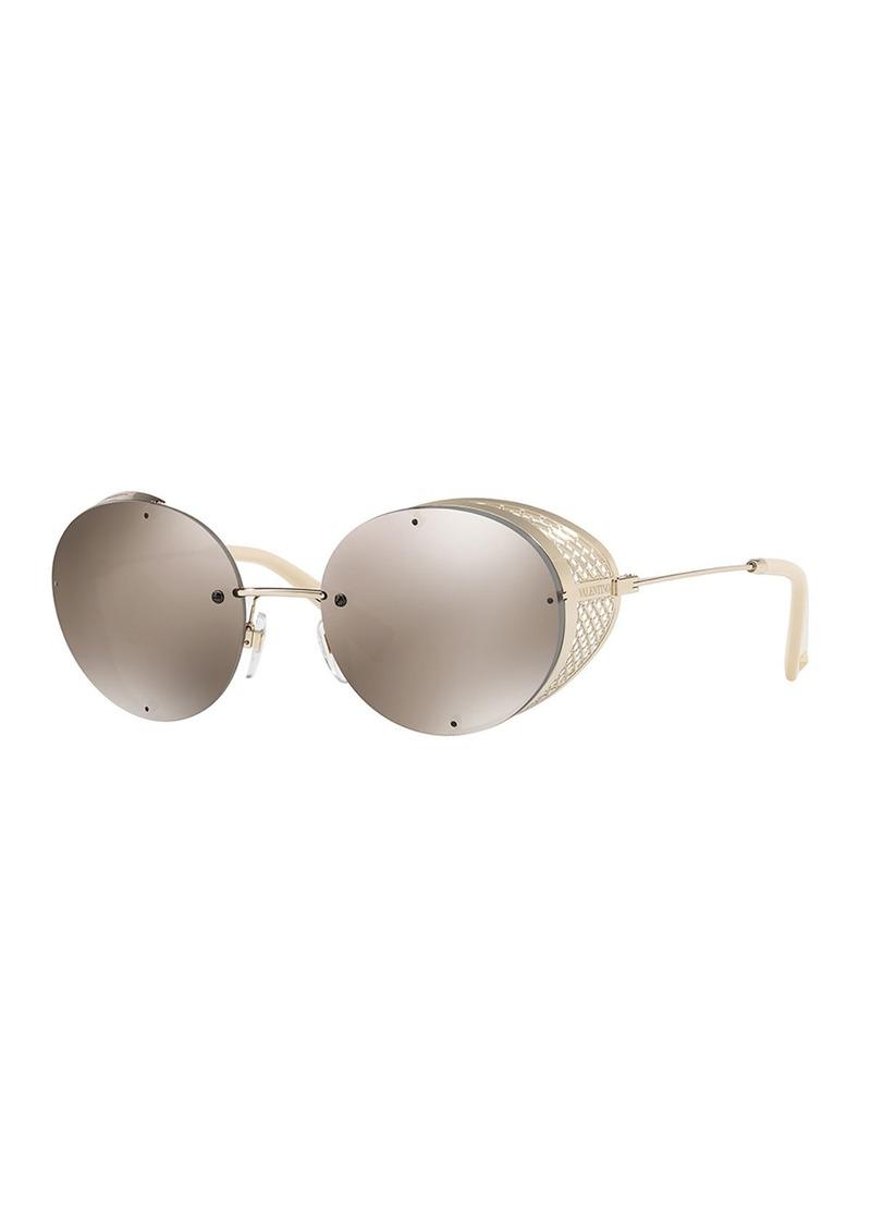 fa06749fe8 Valentino Valentino Glamtech Round Metal Mesh Sunglasses