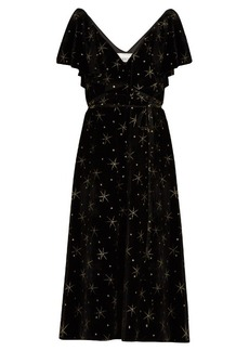Valentino Glitter-star embellished velvet dress