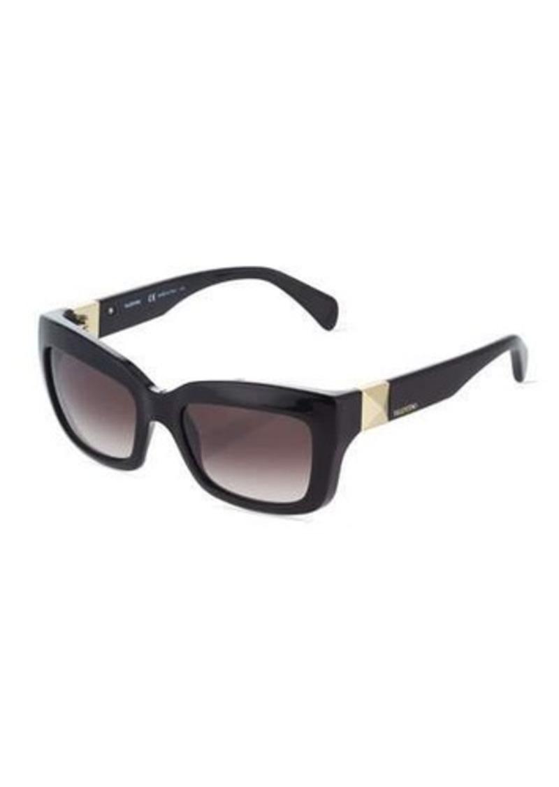 Valentino Glossy Rectangle Acetate Sunglasses