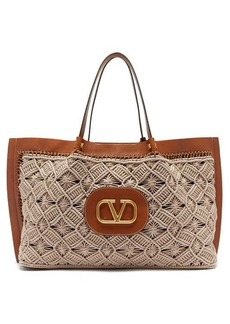Valentino V-logo Escape large macramé and leather tote bag