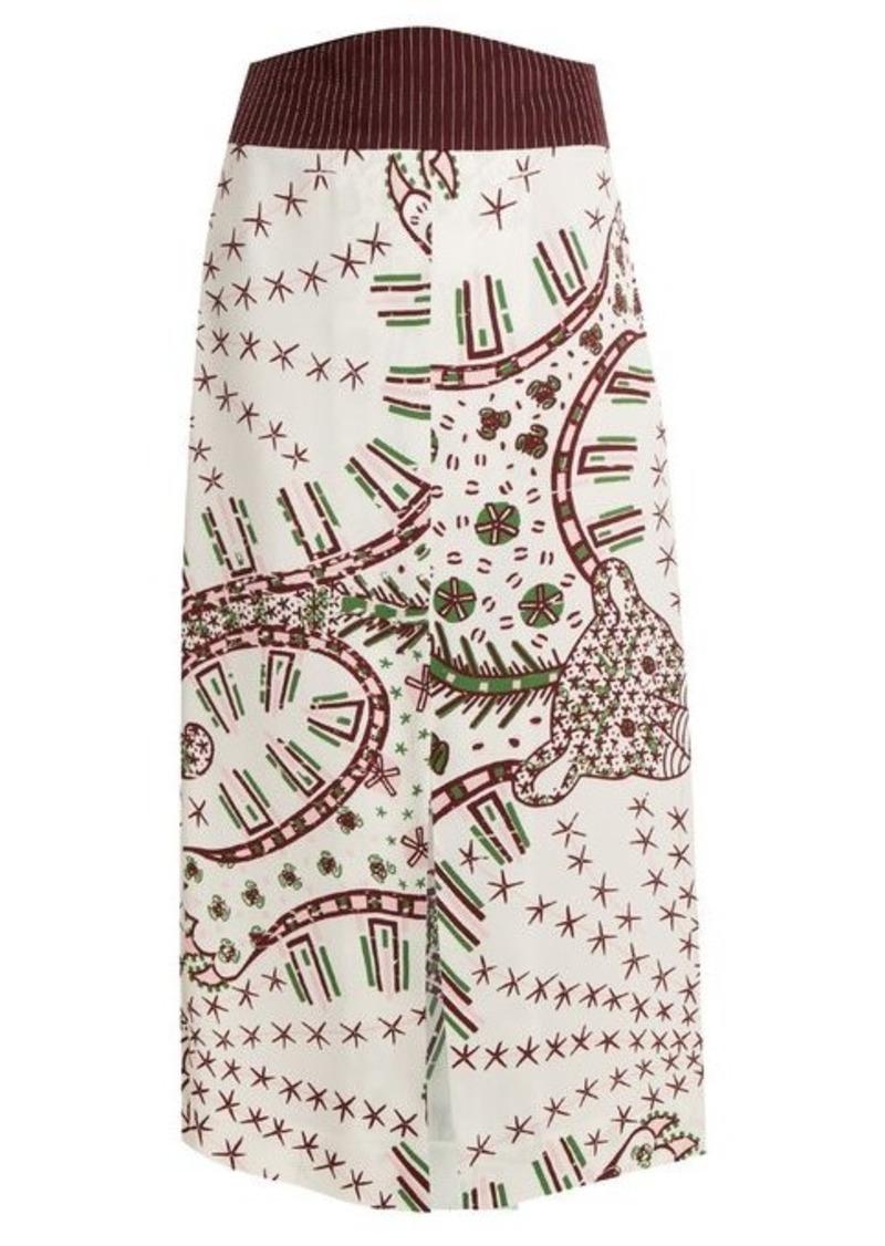 Valentino Graphic-print crepe midi skirt