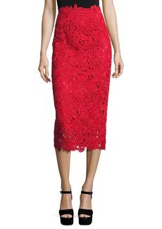 Valentino Guipure-Lace A-Line Midi Skirt