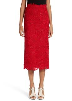 Valentino Guipure Lace Midi Skirt