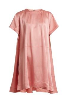 Valentino Hammered-satin short-sleeve dress