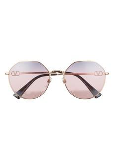 Valentino Havana Gold 57mm Irregular Sunglasses