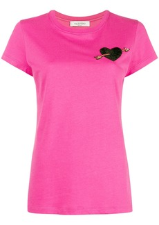 Valentino heart embroidered T-shirt - Pink & Purple