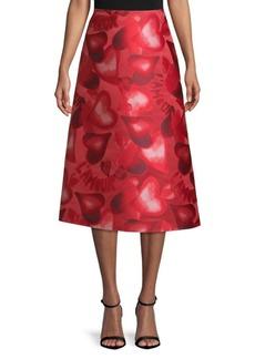 Valentino Heart-Print A-Line Skirt
