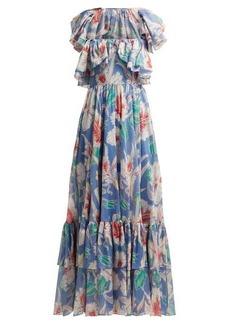Valentino Hibiscus-print cotton gown