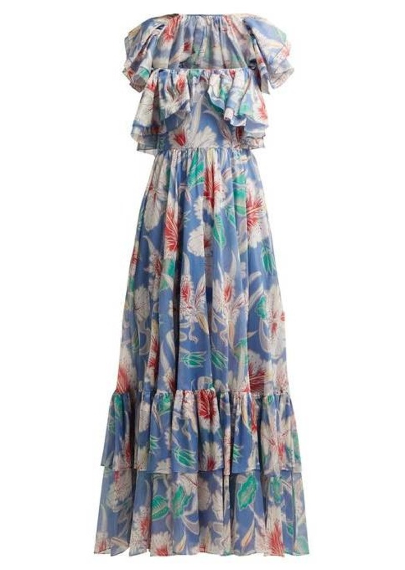 Valentino Hibiscus-print cotton gown