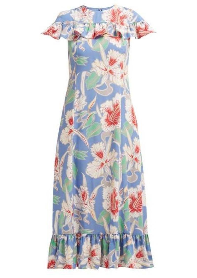 Valentino Hibiscus-print ruffle-trimmed crepe midi dress
