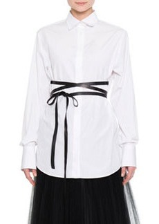 Valentino Hidden-Placket Wrap-Belt Tunic