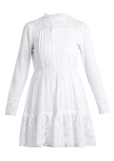 Valentino High-neck cotton-blend lace mini dress