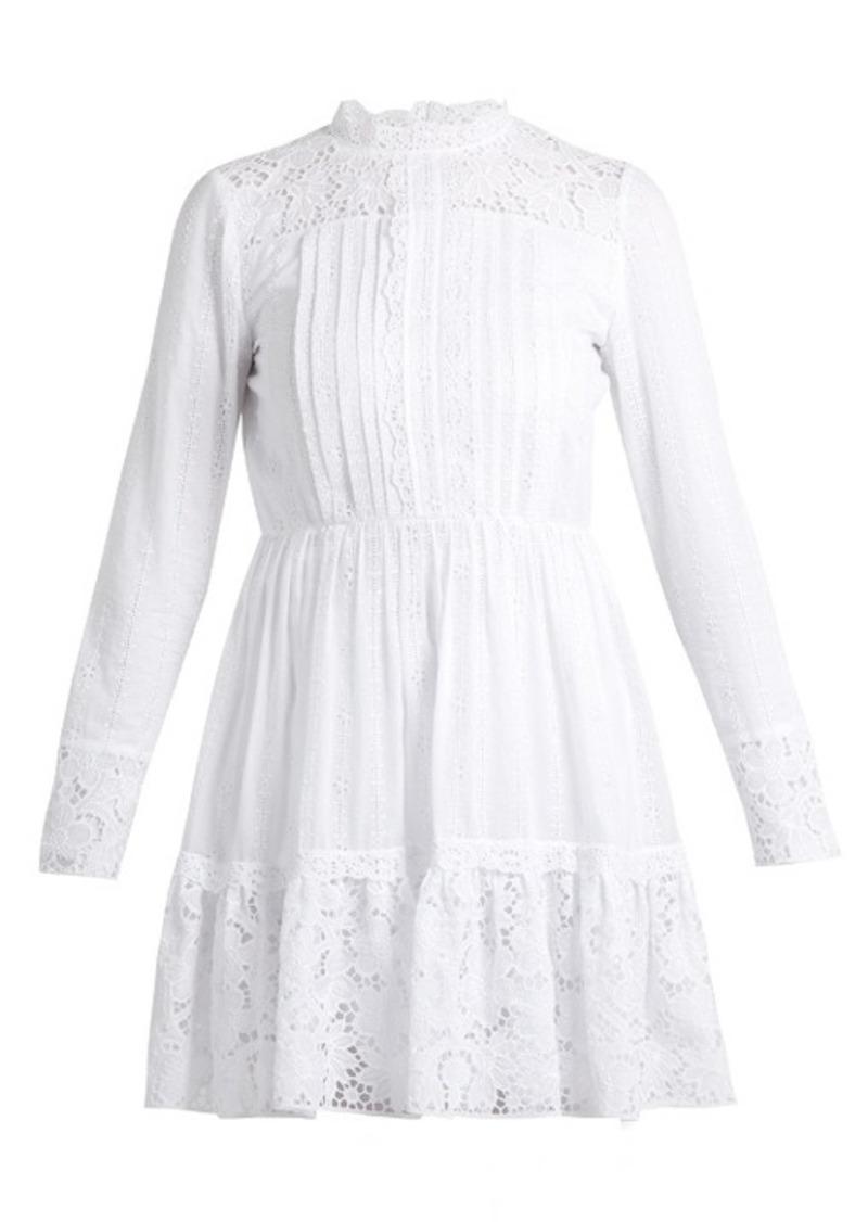 Valentino High-neck cotton-blend lace mini dress