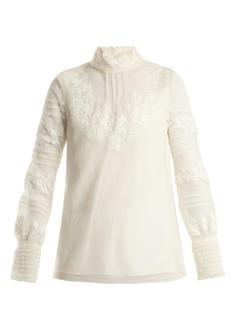Valentino High neck floral-embroidered tulle top