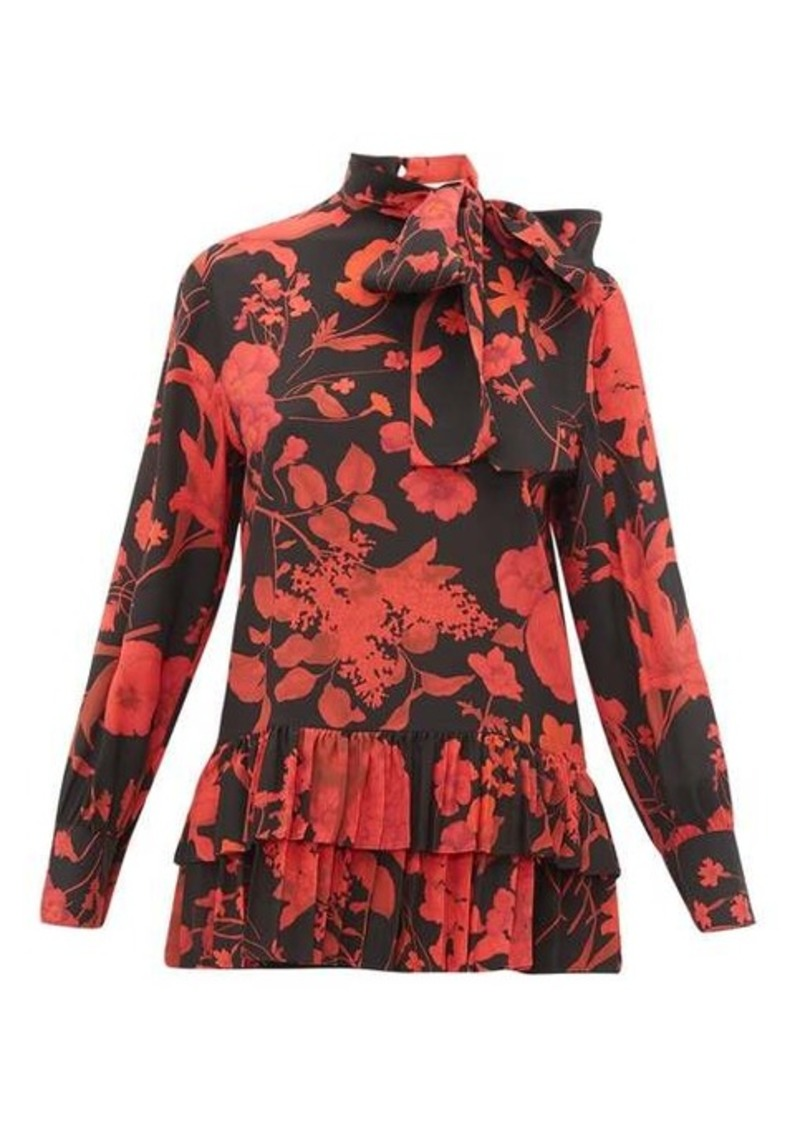 Valentino High-neck floral-print silk blouse