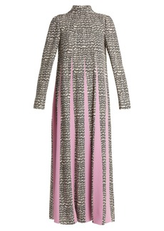 Valentino High-neck graphic-wave print dress