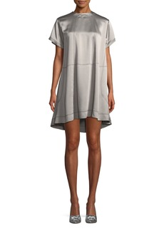 Valentino High-Neck Hammered-Satin Oversized Dress