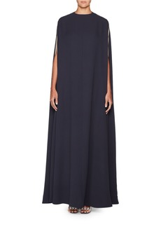 Valentino High-Neck Long Silk Crepe Cape Gown w/ Side Panel