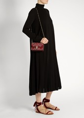 Valentino High-neck pleated double silk-georgette dress