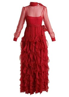 Valentino High-neck polka-dot chiffon gown