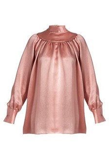 Valentino High-neck satin blouse