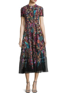 Valentino High-Neck Short-Sleeve Carpet-Embroidered Midi Dress