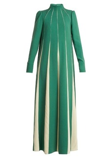Valentino High-neck silk-sable dress