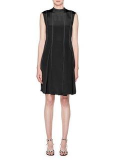 High-Neck Sleeveless Pleated-Bottom Short Dress w/ Contrast Topstitching